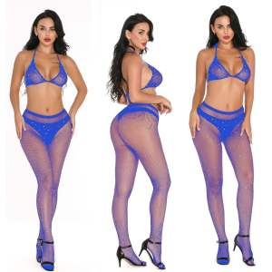 2021 Hot Selling Factory Wholesale Women Underwear Inlaid Diamond Sexy Bra And Stocking Lingerie Set Lingerie Sexy Plus Size