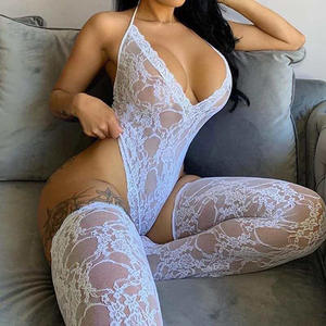 women valentines day sexy bodysuit lace bodysuit with stockings white red 2 piece womens lace lingerie sexy set