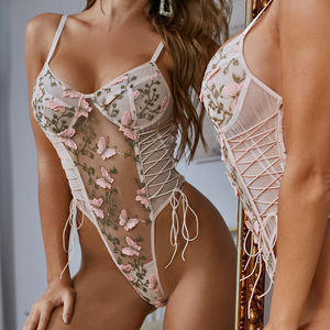 Valentines Day Luxury One Piece Sexy Teddies Butterfly Embroidery Bodysuit flower Corset Mesh Sheer Lingeries Set For Women