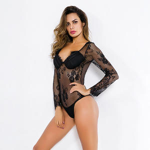 Sexy Lingerie Custom Valentine Day Black Lace Bodysuit Underwear Transparent Lingerie-sexy Hot Sexy Women Lingerie