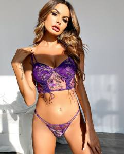 Hot selling sexy lace embroidery lingerie sets Fashion underwear set transparent lace bra and panties