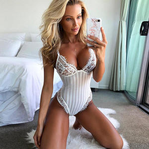 Cheap Price Eyelash Summer Ladies Underwear One Piece Sexy Lace Teddy Lingerie See Through Women Sexy Lingerie