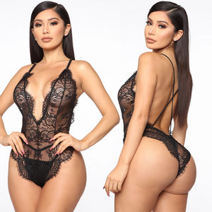 Lingerie Sexy Body Eyelash Lace Bodysuit Plus Size Back Cross Black Transparent Sexy Sleepwear Summer Erotic Sdult Sexy Lingerie