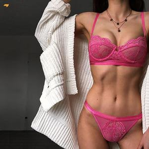 TYY-C1 Wholesale Cheap Price Fashion Women Pink Lace Balconette Bralette Set Sexy Lingerie