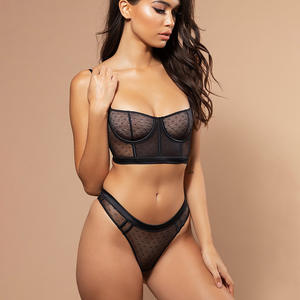 Sexy Sheer Underwear Lingerie Women Bra Brief Sets Mesh Transparent Bra Black White Lingerie