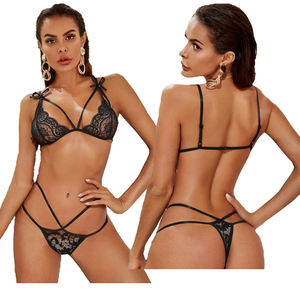 Spot wholesale Fashion Women Pink Lace Balconette Bralette Set Sexy Lingerie