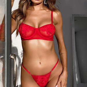 2021 Fashion Factory Women red Underwear Lace Lingerie Set Sexy Lingerie Bra And Panty Set 2 Pieces