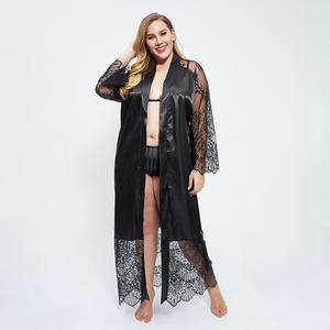 long sleeve lace printed straps sexy hot transparent pajamas long robe lingerie