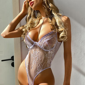 Lace underwear see-through hollow V-neck light purple sexy sling sexy one-piece teddies bodysuits lingerie sets