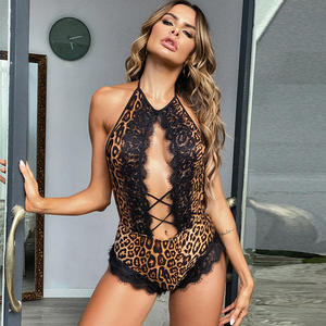 Wholesale New Womens Sexy Jumpsuits Bodysuits Leopard Snake Print Hot Transparent Lace Hollow Halter Backless Sexy Lingerie