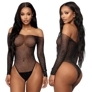 Sexy Lingerie Erotic See Through Bodysuit Mesh Hot Transparent Lace Shiny Sequin Women Sexy Lingerie