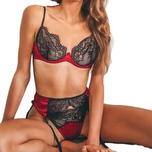 Lingerie Vendors 3PCS Lingerie Set with Sheer Hollow Lace Suspenders See Through Lace Sexy Bra Set Women Lingerie