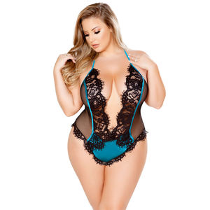 2020 Hot Style Hollow-out Sexy Lace One Piece Fashion Lingerie For Fat Ladies