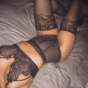 wholesale Hot fashion transparent stock lots 3pcs bra panties fishnet body stockings set shiny rhinestone women sexy lingerie