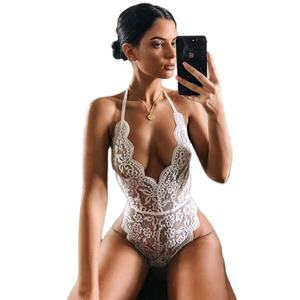 Lace sheer sleeveless bodysuits for women one piece lace lingerie bodysuit