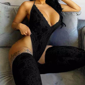 Lace bodysuit with stockings 2 piece womens lingerie sexy set hot transparent sexy lingerie black bodysuit women sexy
