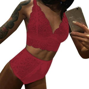 New women lingerie gathered bra underwear ultra-thin cup sexy lace bra set