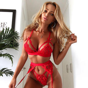 Z0399A Hot selling underwear women sexy Lace perspective lingerie set hollow out bow Net yarn valentines day lingerie women